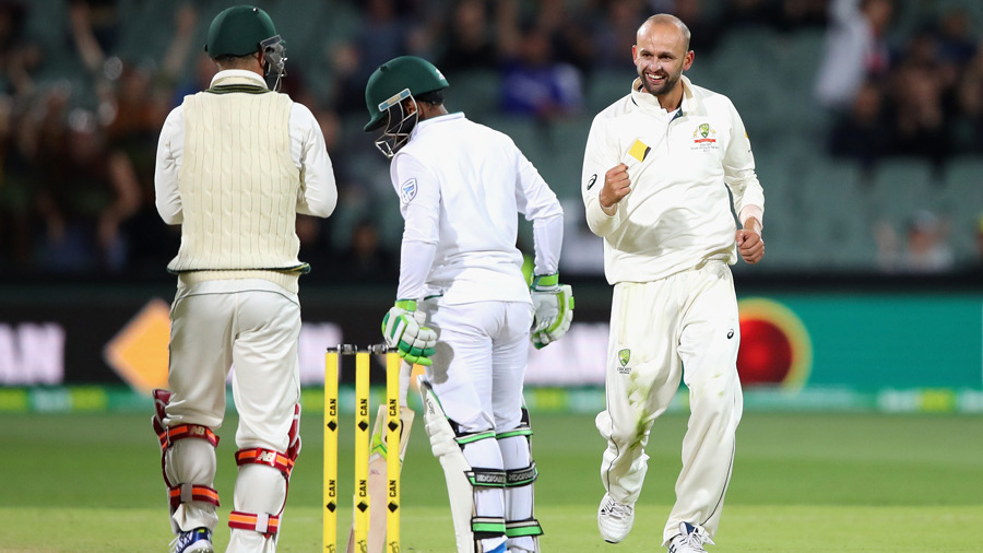 Nathan Lyon is pleased with the wicket of Temba Bavuma