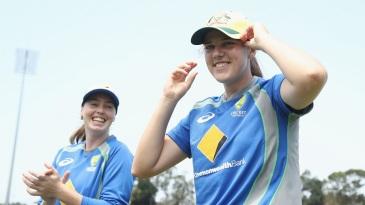 Amanda-Jane Wellington applauds as Tahlia McGrath of Australia receives her debut cap