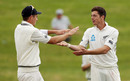 Tim Southee and Mitchell Santner celebrate after the spinner's breakthrough, New Zealand v Pakistan, 2nd Test, Hamilton, 5th day, November 29, 2016