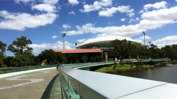 The walkway leading up to the Adelaide Oval