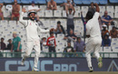 Mohammed Shami celebrates with Virat Kohli after bouncing out Chris Woakes, India v England, 3rd Test, Mohali, 4th day, November 29, 2016