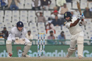 Cheteshwar Pujara plays a cover drive, India v England, 3rd Test, Mohali, 4th day, November 29, 2016