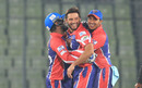 Shahid Afridi celebrates a wicket with his team-mates, Rangpur Riders v Rajshahi Kings, Bangladesh Premier League, Dhaka, November 28, 2016