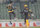 Mehedi Hasan Miraz and Umar Akmal celebrate after combining to remove Soumya Sarkar, Rangpur Riders v Rajshahi Kings, Bangladesh Premier League, Dhaka, November 28, 2016