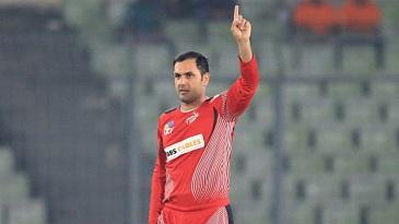 Mohammad Nabi celebrates after picking Taibur Rahman's wicket
