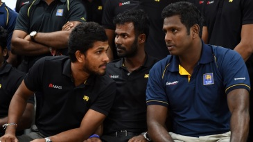 Dinesh Chandimal, Upul Tharanga and Angelo Mathews congregate for a press conference