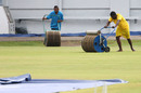 Groundstaff attempt to dry the outfield, Trinidad & Tobago v Leeward Islands, WICB Professional Cricket League Regional 4 Day Tournament, Port of Spain, 3rd day, November 27, 2016