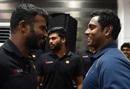 Angelo Mathews shares a moment with Upul Tharanga at a press conference, Colombo, 29 November, 2016
