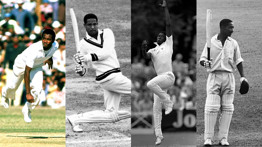 Composite: Malcolm Marshall, Garry Sobers, Joel Garner and Frank Worrell