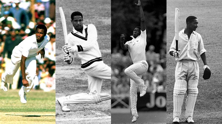 Composite: Malcolm Marshall, Garry Sobers, Joel Garner and Frank Worrell