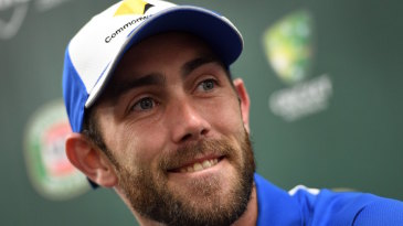Glenn Maxwell smiles during a press conference
