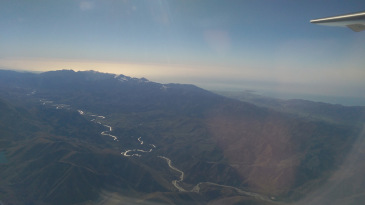 View from a plane flying over North Canterbury