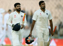 R Ashwin and Ravindra Jadeja walk back at stumps, India v England, 3rd Test, Mohali, 2nd day, November 27, 2016