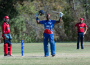 Kamau Leverock celebrates his century, Bermuda v Jersey, ICC World Cricket League Division Four, Los Angeles, November 2, 2016