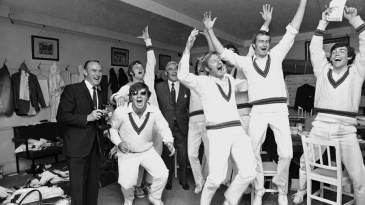 Australia celebrate a win during the 1972 Ashes