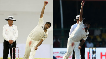 Composite: (From left) R Ashwin bowling in Hyderabad 2012 and Kanpur 2016