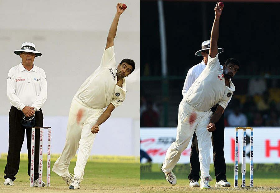 It's all in the body position: Ashwin bowling in Hyderabad 2012 (left) and Kanpur 2016
