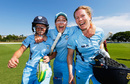 Alyssa Healy, Ellyse Perry and Alex Blackwell celebrate their title win, Queensland v New South Wales, WNCL 2016-17 final, Brisbane, December 3, 2016