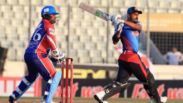 Barisal Bulls' Shahriar Nafees looks on after pulling the ball square