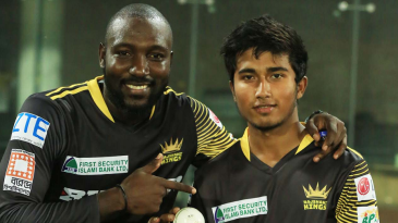 Kesrick Williams points to debutant Afif Hossain who finished with five wickets
