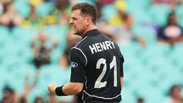 Matt Henry celebrates the first wicket