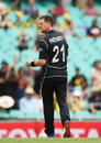 Matt Henry celebrates the first wicket, Australia v New Zealand, 1st ODI, Sydney, December 4, 2016
