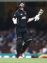 Colin Munro reacts after breaking his bat Australia v New Zealand, 1st ODI, Sydney, December 4, 2016