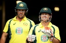 Aaron Finch and David Warner put on 68 for the first wicket, Australia v New Zealand, 2nd ODI, Canberra, December 6, 2016