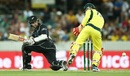 Kane Williamson settles on one knee before gliding the ball behind the wickets, Australia v New Zealand, 2nd ODI, Canberra, December 6, 2016