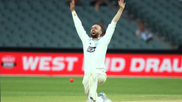 Nathan Lyon appeals during his three-wicket haul