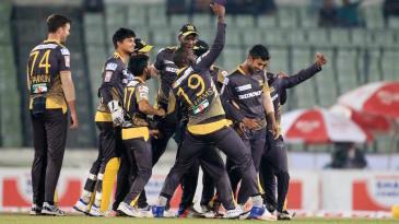 Rajshahi Kings players celebrate a wicket