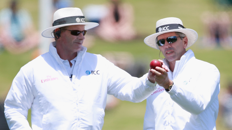 Umpire Paul Reiffel felled by wayward throw in England-India cricket test