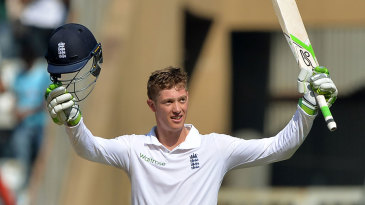 Keaton Jennings celebrates his hundred on Test debut