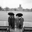 From left: Berkeley Gaskin (manager), Lester King, Deryck Murray, Willie Rodriguez and Joe Solomon of West Indies shelter from the rain that washed out the first day of the match, Worcestershire v West Indies, tour match, day one, May 1, 1963