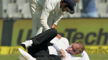 Paul Reiffel was struck on the back of the head by a throw from Bhuvneshwar Kumar