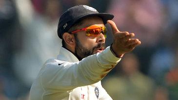 Virat Kohli remonstrates in the field