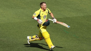 David Warner is ecstatic after raising his seventh ODI century of the year