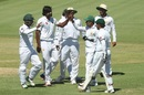 Rahat Ali is congratulated on a wicket, Cricket Australia XI v Pakistanis, Cairns, 2nd day, December 9, 2016