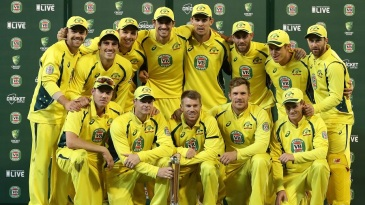 Australia pose with the Chappell-Hadlee trophy after sweeping the series 3-0