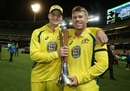 Steven Smith and David Warner are all smiles as they hold the trophy, Australia v New Zealand, 3rd ODI, Melbourne, December 9, 2016