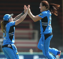 Megan Schutt celebrates with Sarah Coyte after taking a wicket, Adelaide Strikers v Melbourne Renegades, Women's Big Bash League, Sydney, December 10, 2016