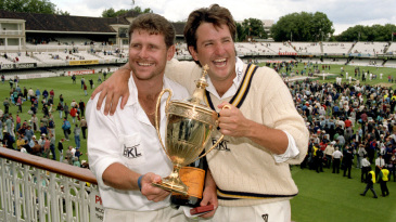 Robin Smith and Mark Nicholas celebrate with the Benson and Hedges Cup