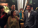 MS Dhoni and his wife Sakshi with Mohammed Kaif at Yuvraj Singh's wedding reception, Delhi, December 7, 2016