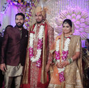 Yuvraj Singh with Ishant Sharma and basketball player Pratima Singh at their wedding reception, Delhi, December 9, 2016