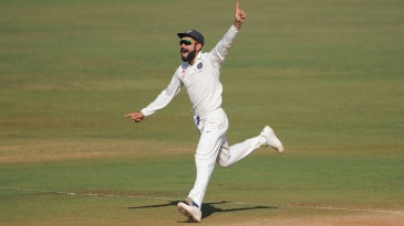 Running away with the series: Virat Kohli sets off on a celebratory sprint