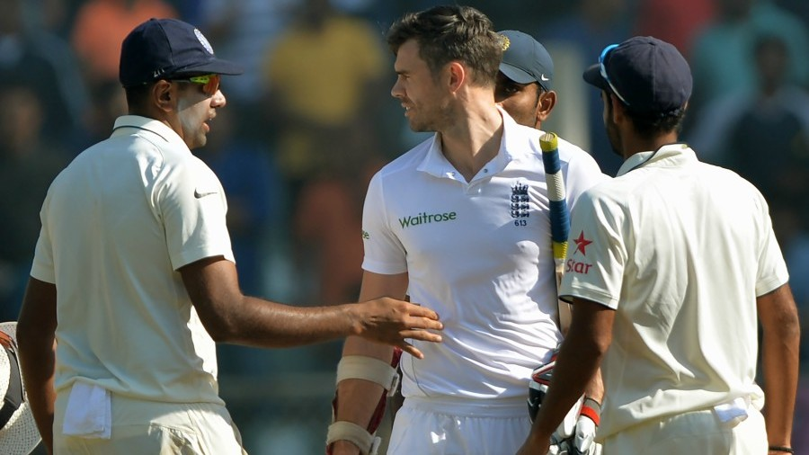R Ashwin and James Anderson have a chat after India's victory