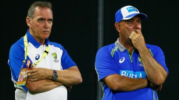 Trevor Hohns and Darren Lehmann oversee Australia's training session