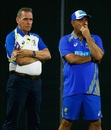 Trevor Hohns and Darren Lehmann oversee Australia's training session, Brisbane, December 13, 2016