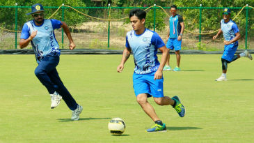 Ishan Kishan involved in a game of football with his team-mates