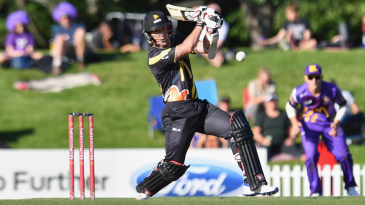 Luke Ronchi powers one through the off side during his half-century